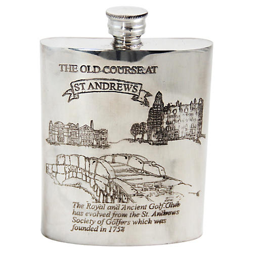 St. Andrews Double-Sided Pewter Flask