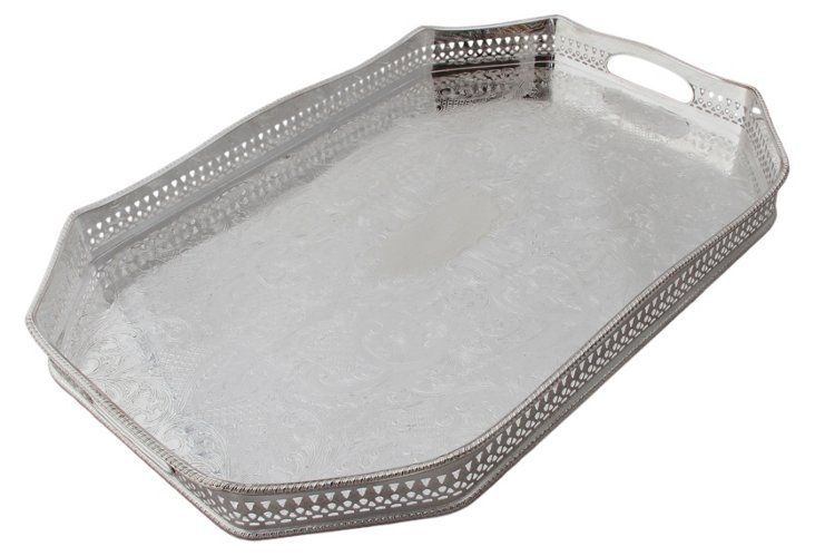 Silver-Plated Octagonal Handled Tray