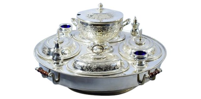 9-Pc Silver-Plated Lazy Susan