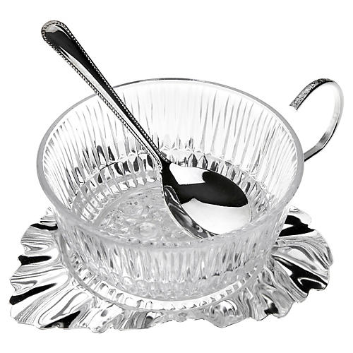 Silver-Plated Leaf Jam Dish