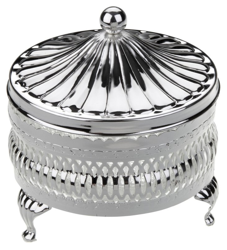 Silver-Plated Round Butter Dish