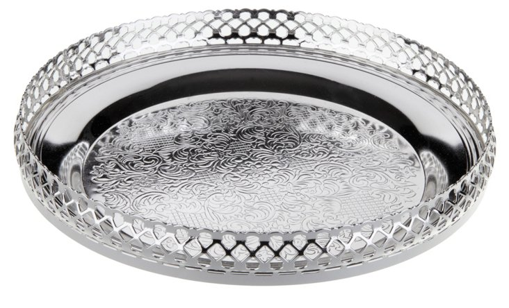 Silver-Plated Round Serving Tray