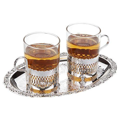 S/2 Roman Teacups w/ Oval Tray, Silver