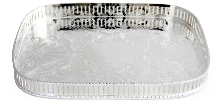 Silver-Plated Pierced Gallery Tray