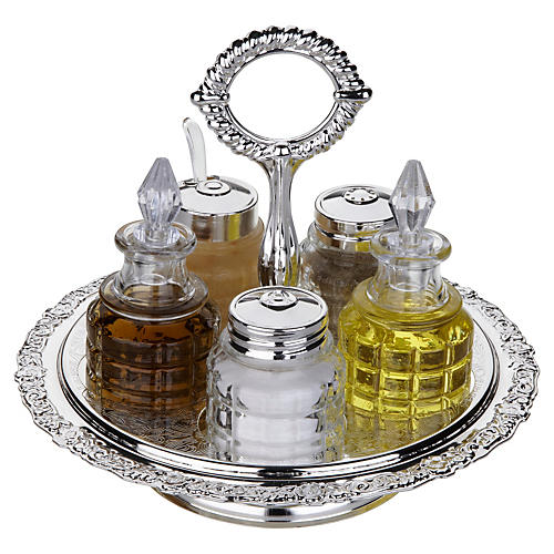 6-Pc Silver-Plated Revolving Cruet Set
