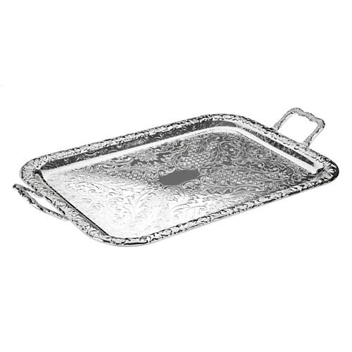 Silver-Plated Oblong Tray w/ Handles