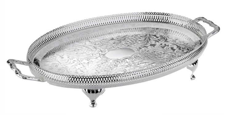 Silver-Plated Oval Gallery Tray w/ Legs