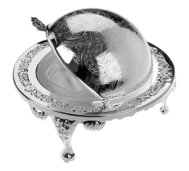 Silver-Plated Revolving Butter Dish