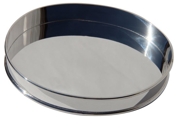 Silver-Plated Round Classic Tray, 8""