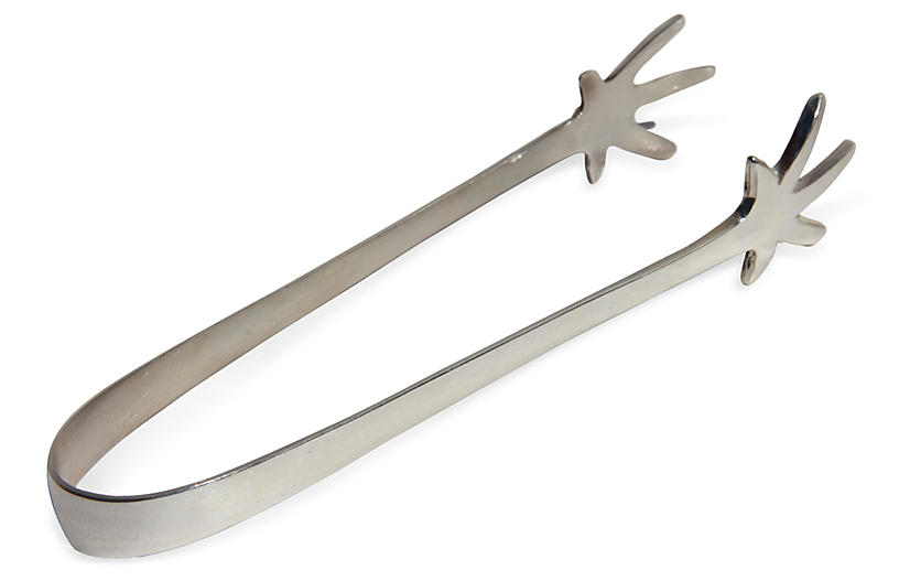 Silver-Plated Claw Ice Tongs
