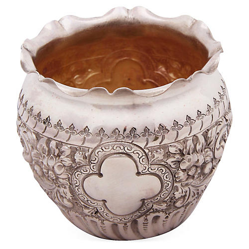 Silver-Plated Embossed Fern Pot
