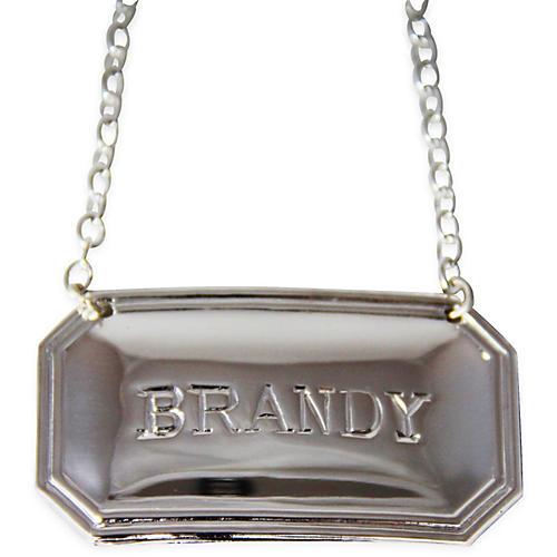 """Brandy"" Decanter Label, Silver"