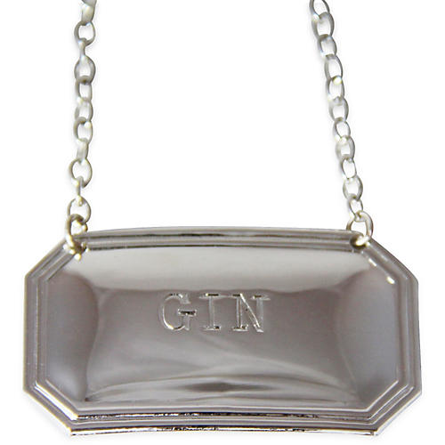 """Gin"" Decanter Label, Silver"