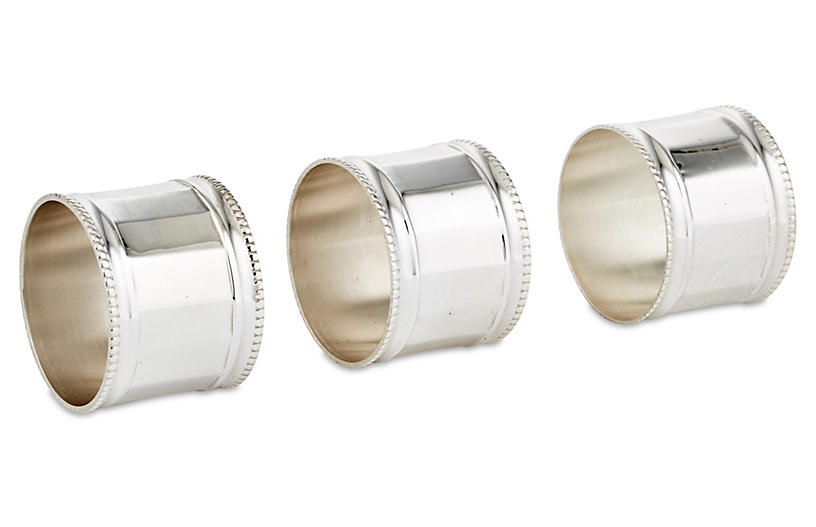 S/6 Paneled & Beaded Napkin Rings