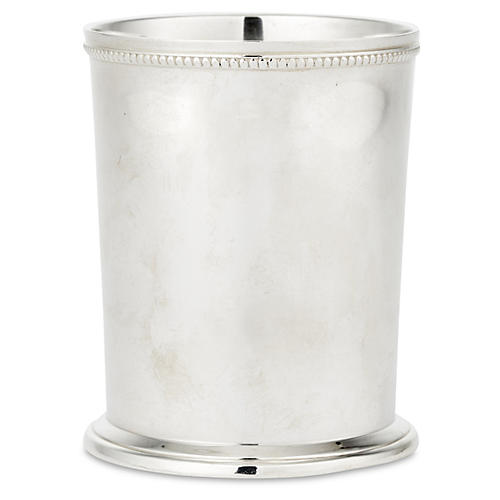 Pair Bead-Edge Mint Juleps, Silver Plated