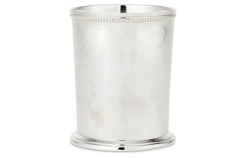 Pair Bead-Edge Mint Juleps, Silver Plated