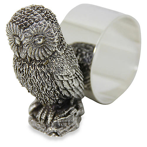 Silverplate Owl Napkin Ring