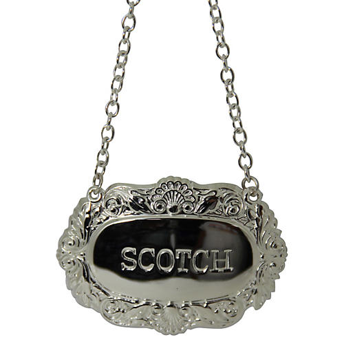 Scotch Decanter Label, Silver Plated