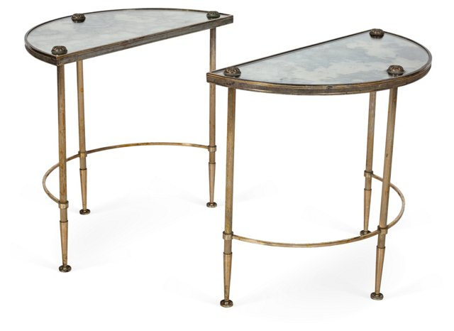 Mirrored Top Demilune Tables, Pair