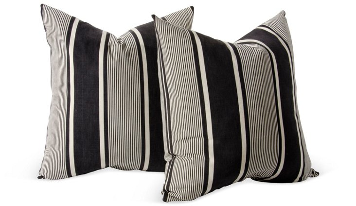 Vintage French Ticking Pillows, Pair