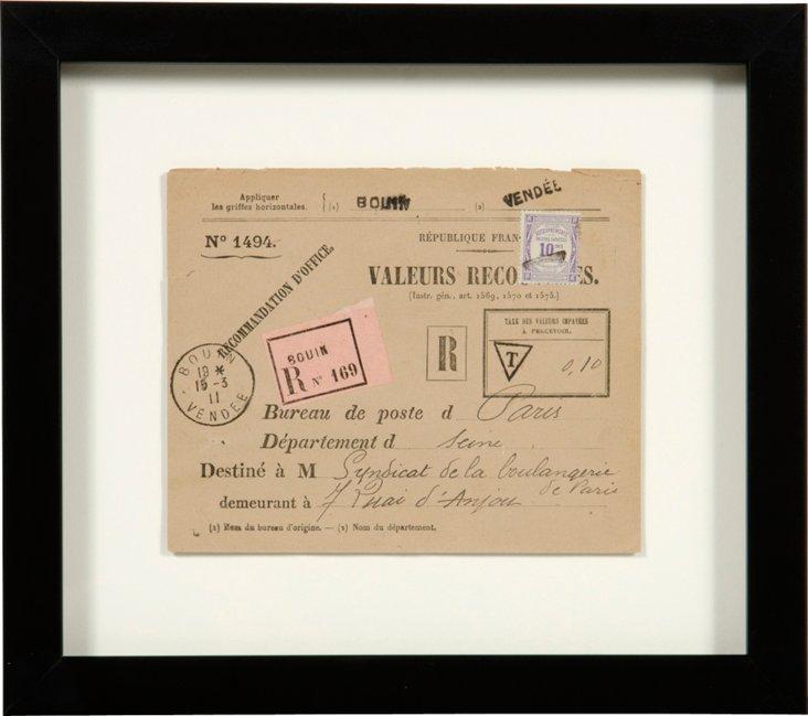 Vintage Framed Envelope