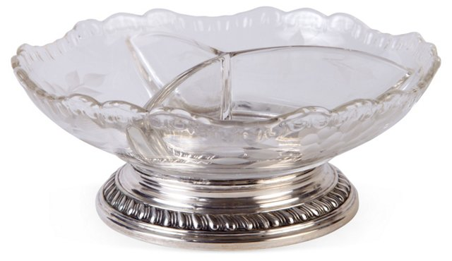 Sterling Silver & Etched Crystal Dish