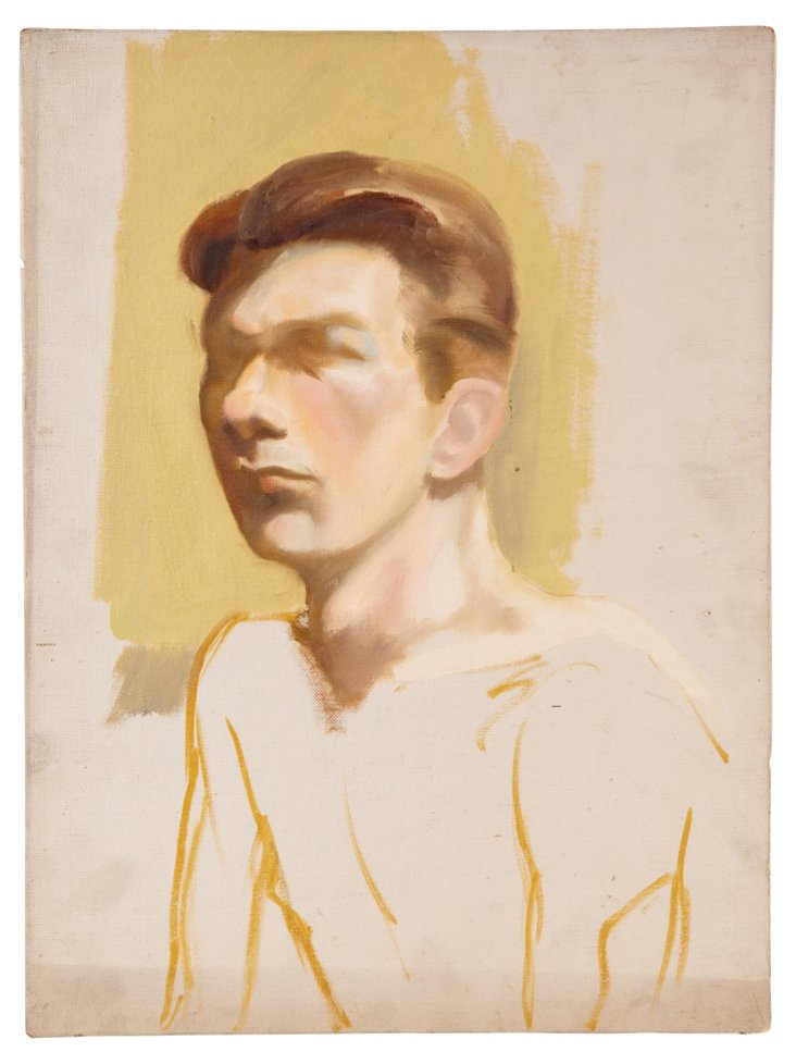 Unfinished Vintage Painting, Man
