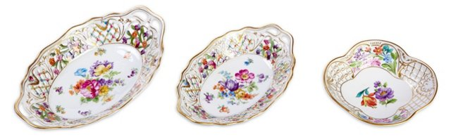 Dresden China Cut-Work Dishes, S/3