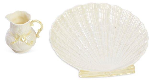 Belleek Shell Dish & Creamer