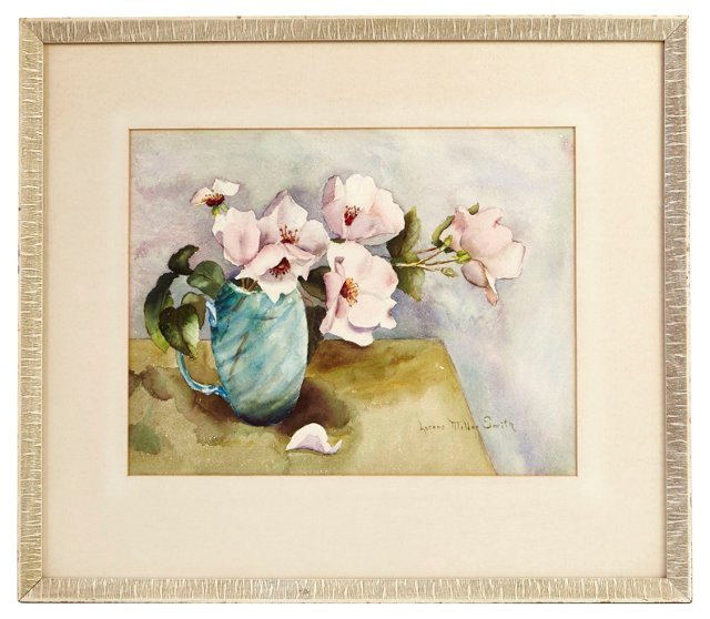 Pitcher of Pink Roses Watercolor