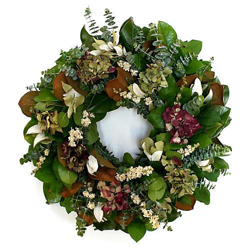 "22"" Magnolia & Eucalyptus Wreath, Live"