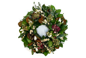 "22"" Magnolia & Eucalyptus Wreath, Dried"