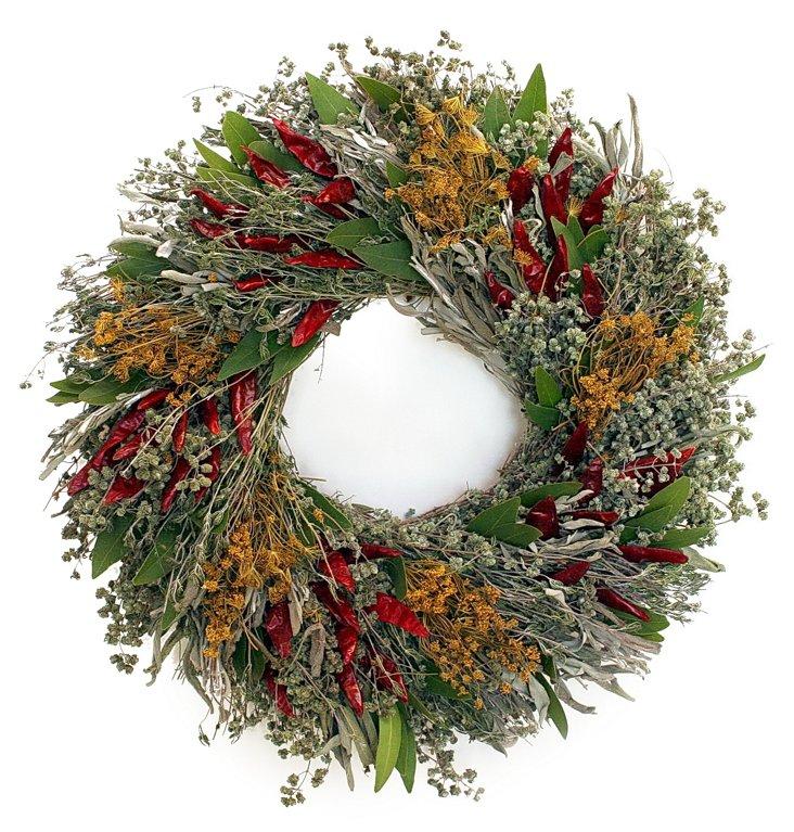 """16"""" Kitchen Herb Wreath, Dried"""
