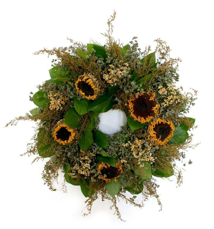 """17"""" Sunflower Wreath, Dried"""
