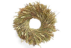 "18"" Harvest Grains Wreath, Dried"