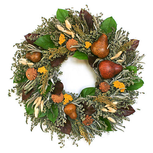 "22"" Fall Bounty Wreath, Dried"