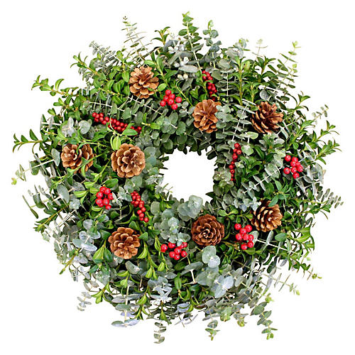 "18"" Winter Canella Wreath, Live"