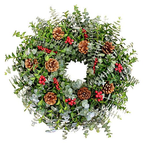 """18"""" Winter Canella Wreath, Live"""