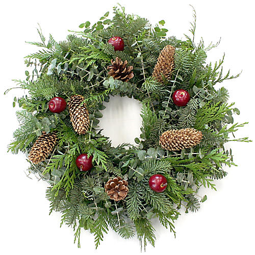"20"" Holiday Apple Wreath, Live"