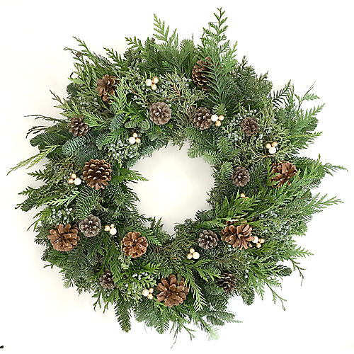 "24"" Pinecone Wreath, Live"