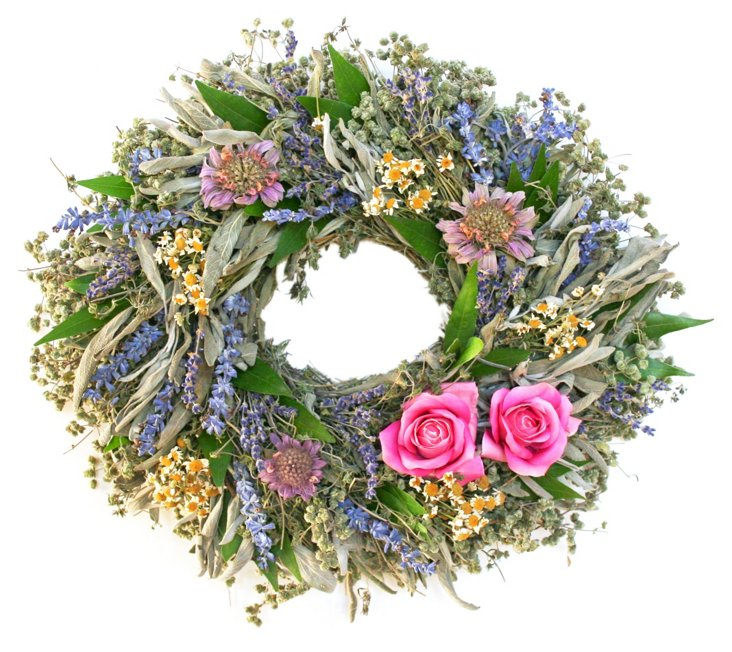 """14"""" Lavender Oval Wreath, Dried"""