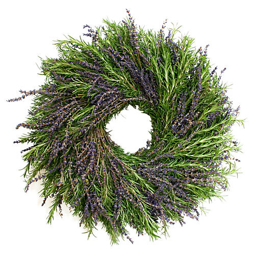 "16"" Lavender & Rosemary Wreath, Live"