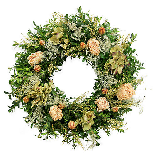 "20"" Lacey Peony Wreath, Dried"