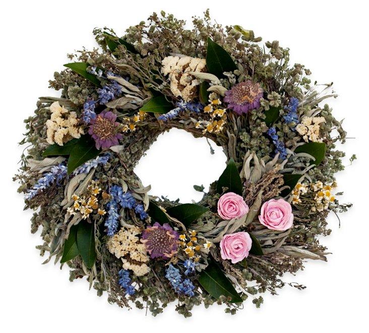 "14"" Herbs & Flowers Oval Wreath, Dried"