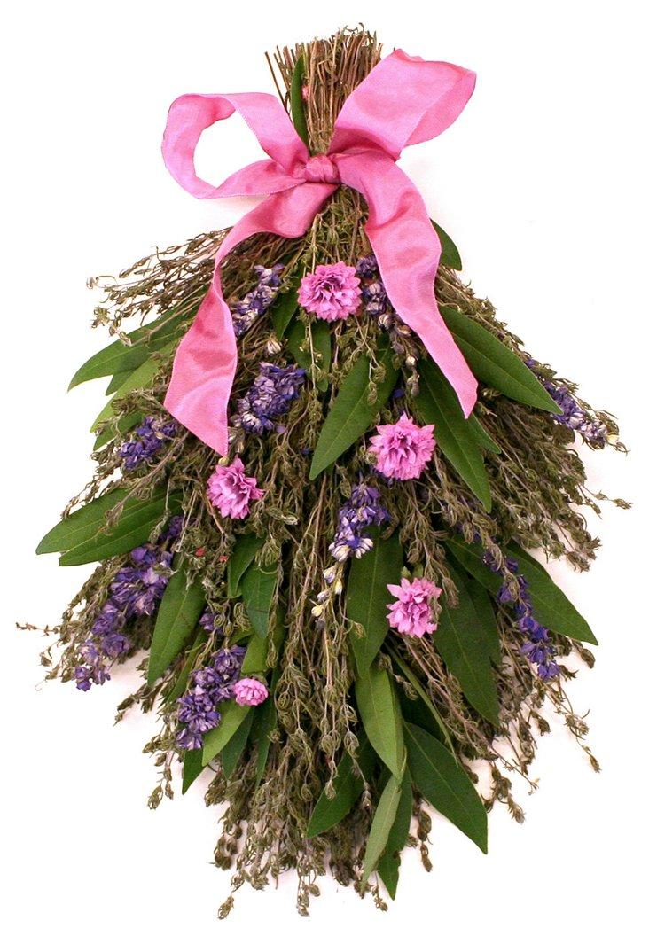 """18"""" Larkspur & Flower Swag, Dried"""