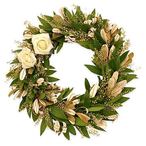 """17"""" Integrifolia & Roses Wreath, Dried"""