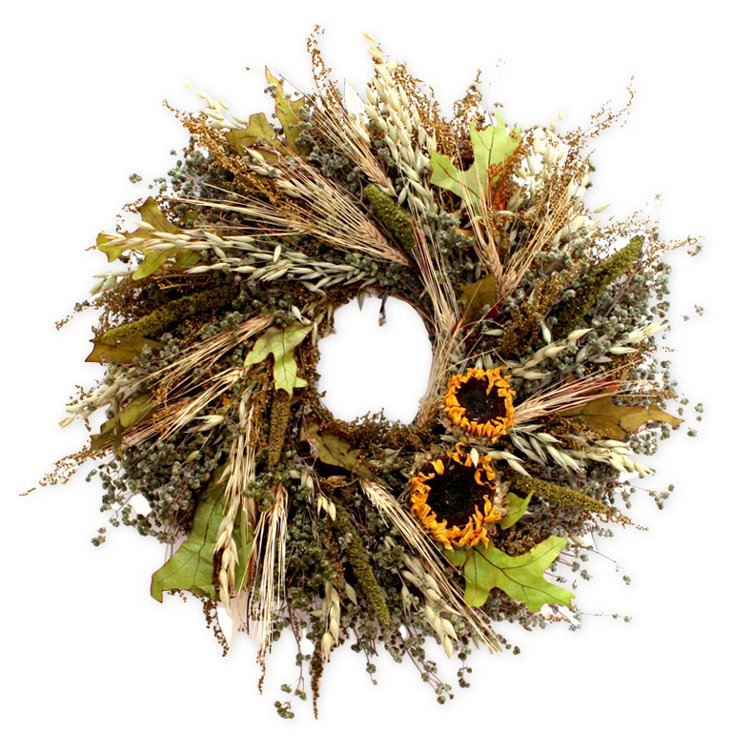 "16"" Sunflower & Grains Wreath, Dried"