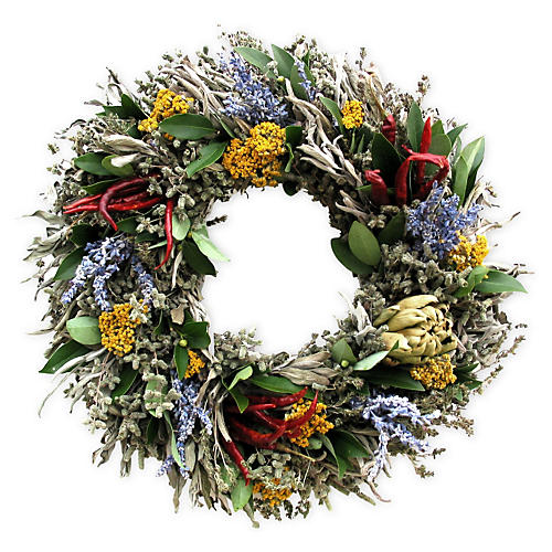 Artichoke & Herb Wreath, Dried