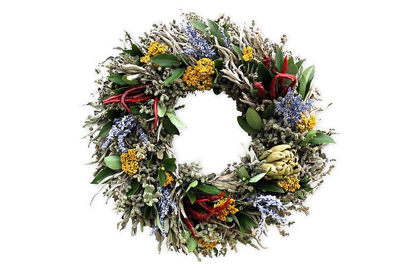 Artichoke & Herb Wreath, Dried