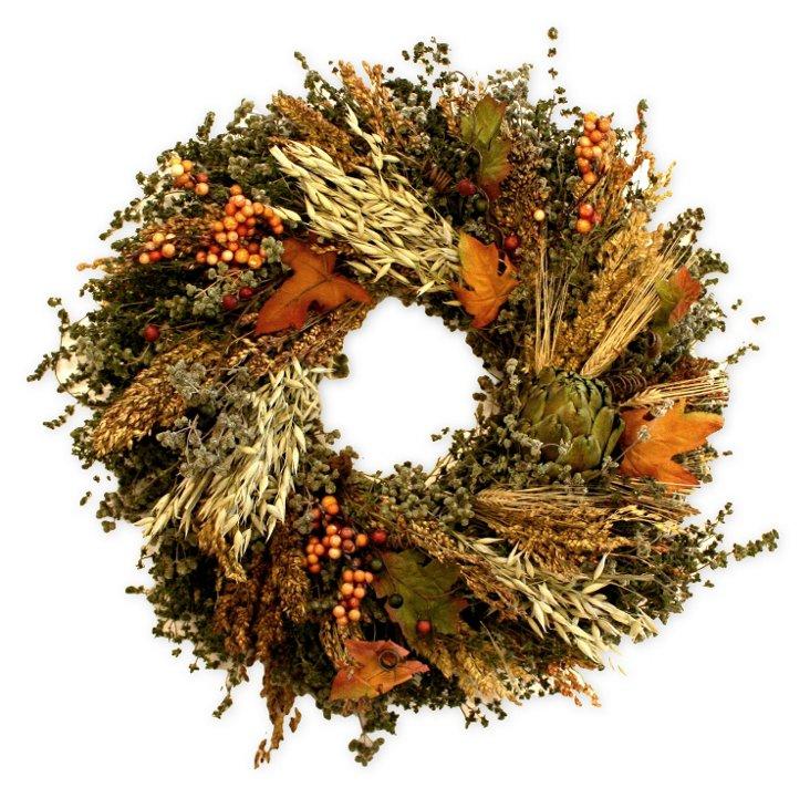 """18"""" Artichoke Wreath, Dried"""